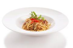 Thailändische Artfusionsspaghettis Stockfotos