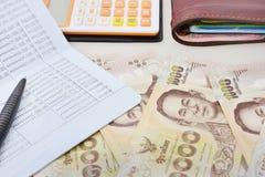 Thailändische Banknote des 1000-Baht-Hintergrundes Lizenzfreies Stockfoto