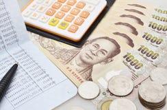 Thailändische Banknote des 1000-Baht-Hintergrundes Stockfoto