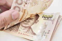Thailändische Banknote des 1000-Baht-Hintergrundes Stockbilder