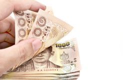 Thailändische Banknote des 1000-Baht-Hintergrundes Lizenzfreies Stockbild