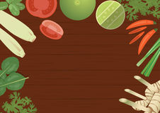 Thailändische Bestandteile des Vektors Nahrungsmittelauf hölzernem Hintergrund Stockbild