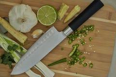 Thailändische Bestandteile für Aufruhrfischrogen oder -curry mit scharfem Messer stockfoto