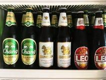 Thailändische Bierflaschebeliebte marken gelegt auf Regal in Kühlschrank Stockbilder