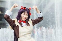 Thailändische cosplayers kleiden als die Charaktere von der Karikatur und vom Spiel in Japan-festa in Bangkok an Lizenzfreies Stockbild