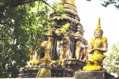 Thailändische Engelsskulptur und alte Pagodenszene im Tempel Lizenzfreie Stockbilder