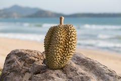 Thailändische Früchte des Durian auf dem Strand Lizenzfreies Stockfoto