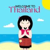 Thailändische Frau des flachen Vektors mit namaste lizenzfreie abbildung