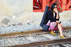 Thailändische Frau des Porträts am Bahnzug Bangkok Thailand Stockbilder