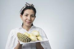 Thailändische Frauen und Durian Aisan Stockfoto