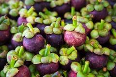 Thailändische Frucht der frischen organischen Mangostanfrucht im Markt Thailand Lizenzfreies Stockfoto