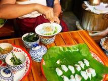 Thailändische gedämpfte Reis-Haut-Mehlklöße, Thailand lizenzfreie stockfotografie