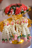 Thailändische Girlande, für thailändische Hochzeitszeremonie stockfotografie
