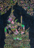Thailändische Gottheitskunst gemacht durch Perle auf Granitwand Lizenzfreie Stockfotografie