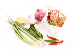 Thailändische Küche-, heiße und saurethailändische Suppe mit Garnele Tom Yam Kung Stockfotografie