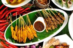 Thailändische Küche, Huhn Satay, Rindfleisch Satay Lizenzfreies Stockbild