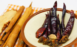 Thailändische kochende Gewürze und Kräuter lizenzfreie stockbilder