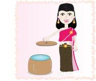 Thailändische Kostümillustration der Frau Lizenzfreie Stockfotos