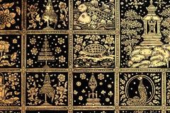 Thailändische Kunstgoldmalerei Stockfoto
