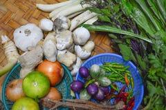 Thailändische Lebensmittelinhaltsstoffe auf Bodenkorb Lizenzfreie Stockbilder