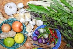 Thailändische Lebensmittelinhaltsstoffe auf Bodenkorb Stockbild