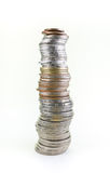 Thailändische Münzen des Stapels lokalisiert auf Weiß Lizenzfreies Stockfoto
