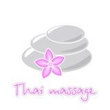 Thailändische Massage, Lotosblume und Massagesteine Stockfotos