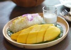 Thailändische Nachtischanrufmango und klebriger Reis Stockbild