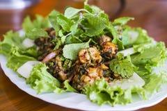 Thailändische Nahrung, thailändischer würziger gehackter Schweinefleischsalat Lizenzfreie Stockfotos