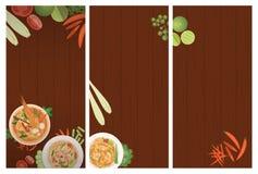 Thailändische Nahrungsmittelrestaurant-Menüschablone Stockbild