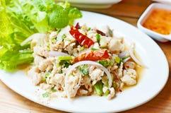 Thailändische Nahrungsmittelwürziges gehacktes Geflügelsalat stockfotografie