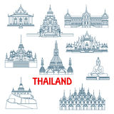 Thailändische Reisemarksteine verdünnen Linie Ikonen Lizenzfreies Stockbild