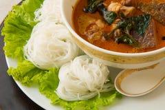 Thailändische Suppennudeln gegessen mit grünem Curry Lizenzfreie Stockfotografie