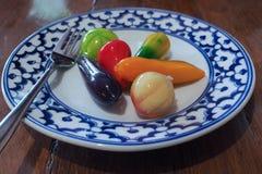 Thailändische traditionelle Bonbons der gelben Bohne Stockfoto