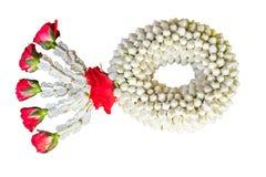 Thailändische traditionelle Jasmingirlande Symbol von Mother& x27; s-Tag im thail Lizenzfreies Stockbild
