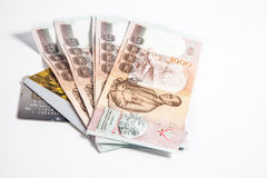 Thailändische Währung, Geldautomatenkarte Lizenzfreie Stockfotografie