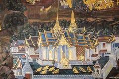 Thailändische Wandmalerei Stockfotografie