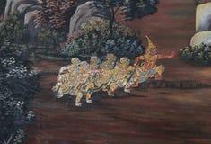 Thailändische Wandmalerei im Schongebiet Wat Phra Kaew Stockfoto