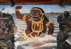Thailändische Wandmalerei im Schongebiet Wat Phra Kaew Stockbild