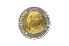 Thailändische zehn-Baht-Münze Stockfotografie