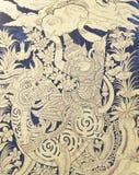 Thailändischer Acient Art Painting auf Kirchen-Tür-Fotografie in Thailand Lizenzfreies Stockfoto