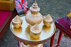 Thailändischer alter Messingkessel. Lizenzfreies Stockbild