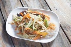 Thailändischer Art-Papaya-Salat mit gesalzener Krabbe Stockbild