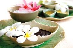 Thailändischer Badekurort Kräuter und Öl mit thailändischer Blume Lizenzfreies Stockbild