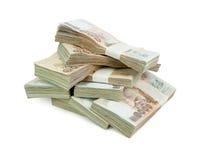 Thailändischer Baht der Banknote 1000 auf weißem Hintergrund für Geschäft, Bank Stockfotos