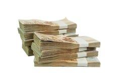 Thailändischer Baht der Banknote 1000 auf weißem Hintergrund für Geschäft, Bank Stockfotografie