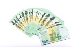 Thailändischer Baht des Geldes 20 lokalisiert auf weißem Hintergrund Lizenzfreie Stockbilder