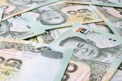 Thailändischer Baht des Geldes 20, thailändischer Banknotenhintergrund Stockfoto