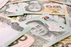 Thailändischer Baht des Geldes 20, thailändischer Banknotenhintergrund Stockbild
