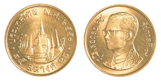 thailändischer Baht 25 satang Münze Stockbild